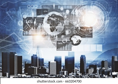 Modern night city with abstract business chart hologram. Management concept. 3D Rendering