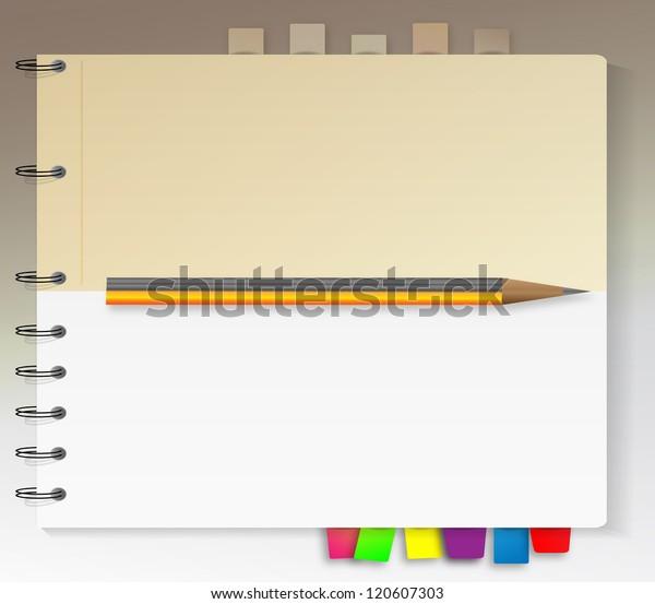 Modern Notepad Bookmarks Jpeg Version Stock Illustration