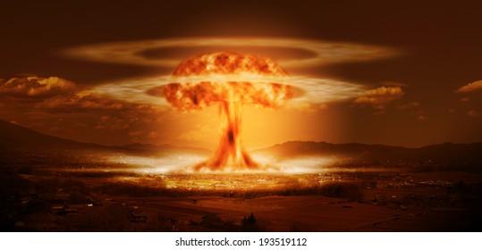 小さな都市での現代の核爆弾爆発