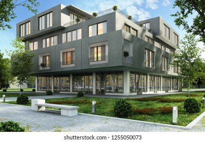 Modern office and apartment building in a green residential area of the city. 3D rendering.