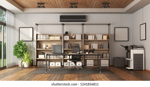 Modern office with bookcase , desk with laptop and photocopier - 3d rendering