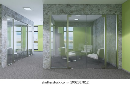 Modern office building interior. 3D rendering.