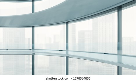 Modern office building with large panoramic windows. 3D rendering
