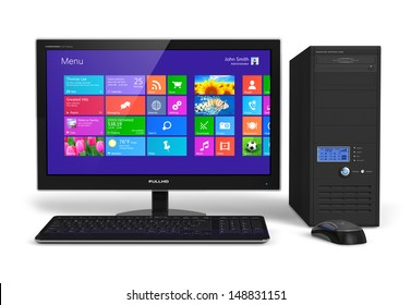 Modern office business desktop computer PC system: monitor with touchscreen interface with color icons, tower case, keyboard and mouse isolated on white background