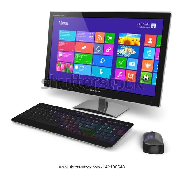 Современный офисный настольный компьютерный монитор для ПК с сенсорным интерфейсом с цветными иконками, клавиатурой и мышью, изолированными на белом фоне