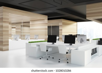 Modern office corner with wood and glass walls, a white floor and rows of white computer desks. 3d rendering mock up