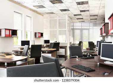 Modern office design interior. 3D rendering.