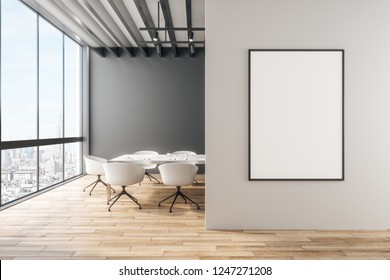 Modern office with empty banner on wall and city view. Mock up, 3D Rendering