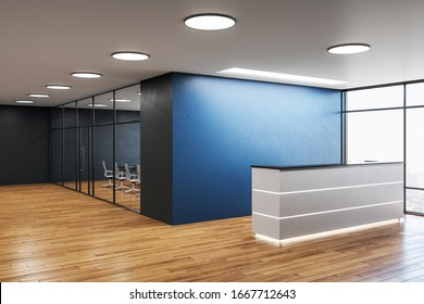 Modern office hall with reception desk and copy space on blue wall. Workplace and lifestyle concept. 3D Rendering