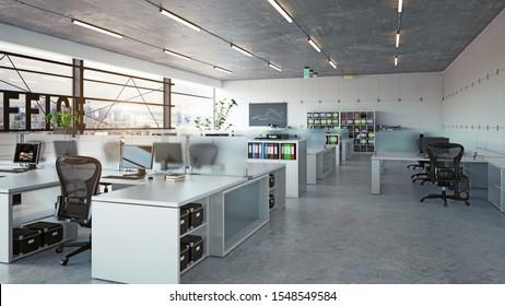 moderne Büroausstattung, 3D-Design des Geschäftskonzepts