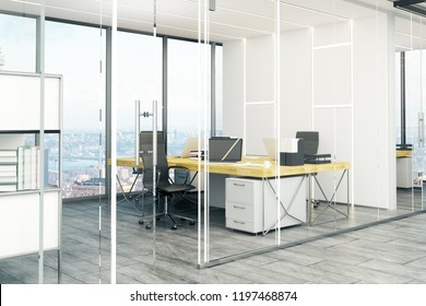 Modern office interior with bright panoramic city view and daylight. Workplace concept. 3D Rendering