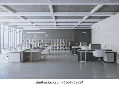 コンピューターと都市のビューを備えた最新のオフィスインテリア。職場とライフスタイルのコンセプト。3Dレンダリング