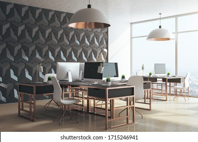 Modern office interior with computers and city view. Workplace and lifestyle concept. 3D Rendering