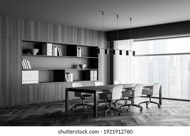 Modern office interior. Conference table. City view, panoramic window. Meeting room. 3d rendering