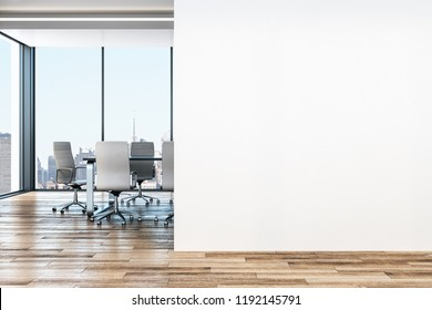 Modern office interior with copy space on wall, city view and furniture. Mock up, 3D Rendering