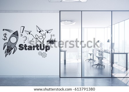 Modern Office Interior With Creative Rocket Ship Sketch On Concrete Wall Start Up Concept