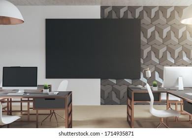 Modern office interior with daylight and blank black poster. Workplace and design concept. 3D Rendering