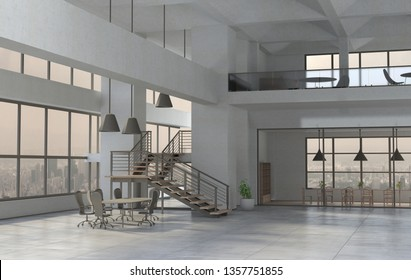 The modern office interior in a daytime. 3D render