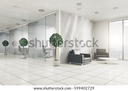 modern office plants. Modern Office Interior With Decorative Plants And City View. Business  Concept. 3D Rendering Modern