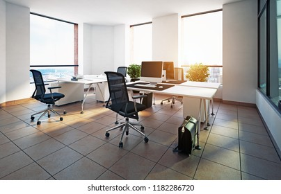 modern office interior design. 3d rendering concept