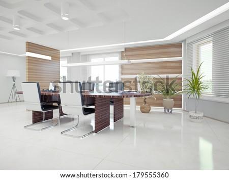 Modern Office Interior Design Concept Stock Illustration - Royalty ...