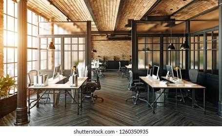modernes Bürodesign. Loft Concept 3d Rendering