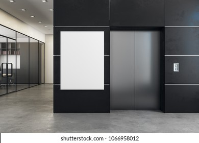 Modern office interior with elevator and empty banner. Success concept. Mock up, 3D Rendering