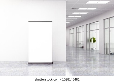 Modern office interior with empty ad poster. Mock up, 3D Rendering