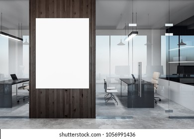 Modern office interior with empty banner on wall. Mock up, 3D Rendering