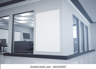 Modern office interior with empty banner/poster/billboard on wall. Mock up, 3D Rendering