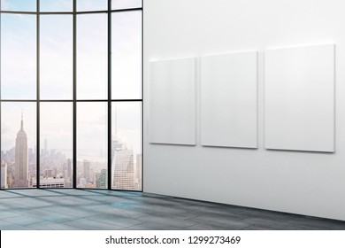 Modern office interior with empty banners on wall and New York city view. Mock up, 3D Rendering