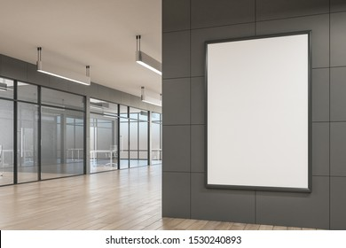 Modern office interior with empty billboard on wall, glass, furniture, city view and daylight. 3D Rendering