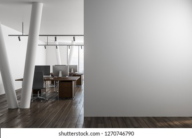 Modern office interior with empty copyspace on wall and city view. Mock up, 3D Rendering