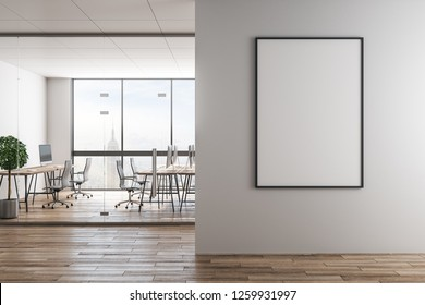 Modern office interior with empty frame on wall, furniture and city view. Mock up, 3D Rendering