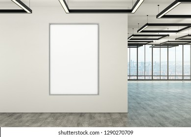 Modern office interior with empty poster on wall, daylight and city view. Mock up, 3D Rendering