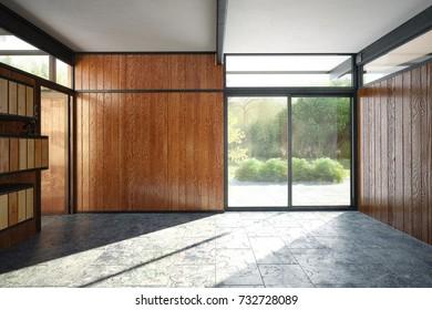 Modern office interior empty room - 3 D render