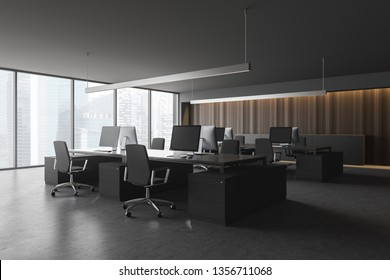 Modern office interior with furniture. 3d rendering.