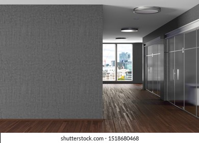 Modern office interior with gray blank wall mock up. 3d illustration