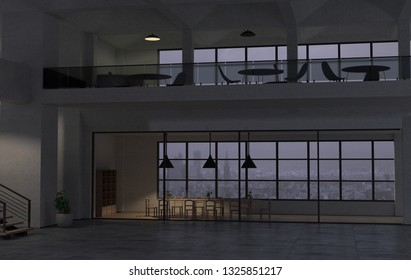 The modern office interior in the late evening. 3D render