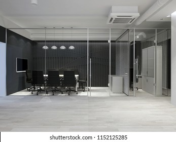 Modern office interior. Meeting room with wood panel. 3D rendering.