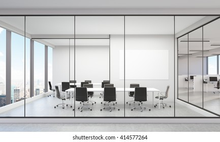 Modern office interior with New York city view and blank whiteboard. 3D Rendering
