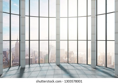 Modern office interior with panoramic New York city view and sunlight. 3D Rendering