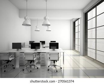 Modern office interior in white 3D rendering