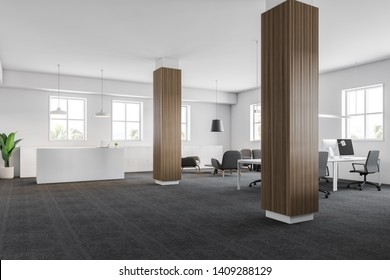 Modern office interior with white walls, wooden columns, white reception desk and lounge area with armchairs and open space. 3d rendering