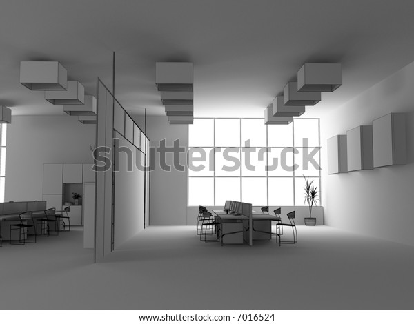 the modern office interior wire design sketch (3d render)