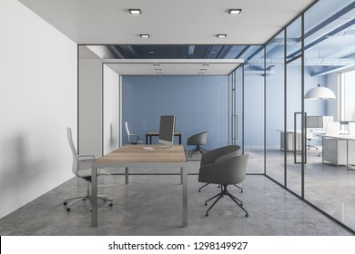 Modern office interior with workplace and daylight. 3D Rendering