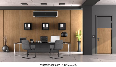 Modern office with large desk ,chairs and air conditioner - 3d rendering