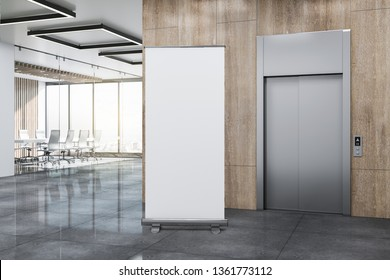 Modern office lobby with lift, empty white poster on wooden wall and panoramic city view. Mock up, 3D Rendering