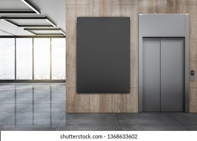 Modern office lobby with lift, empty black poster on wooden wall and panoramic city view. Mock up, 3D Rendering