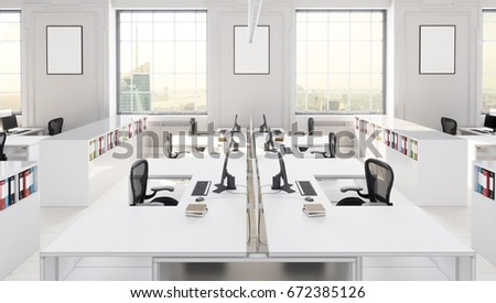 Free office space Furniture Modern Office Space With City Background 3d Illustration Terra Universal Royalty Free Stock Illustration Of Modern Office Space City